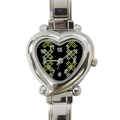 Vintage Pattern Background  Vector Seamless Heart Italian Charm Watch