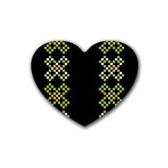 Vintage Pattern Background  Vector Seamless Rubber Coaster (heart)