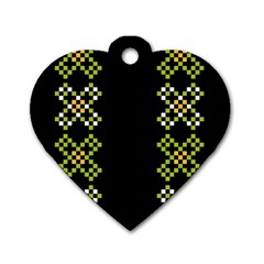Vintage Pattern Background  Vector Seamless Dog Tag Heart (two Sides)