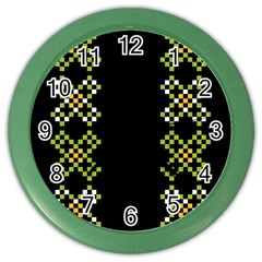 Vintage Pattern Background  Vector Seamless Color Wall Clocks
