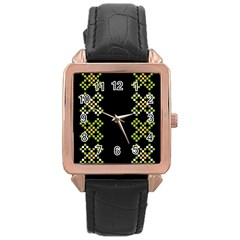 Vintage Pattern Background  Vector Seamless Rose Gold Leather Watch