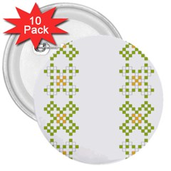 Vintage Pattern Background  Vector Seamless 3  Buttons (10 Pack)