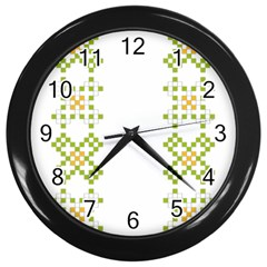 Vintage Pattern Background  Vector Seamless Wall Clocks (black)