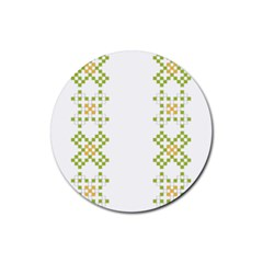 Vintage Pattern Background  Vector Seamless Rubber Round Coaster (4 Pack)