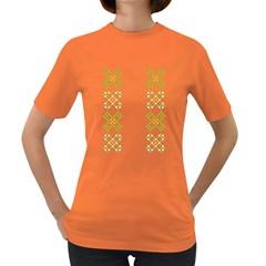 Vintage Pattern Background  Vector Seamless Women s Dark T-Shirt