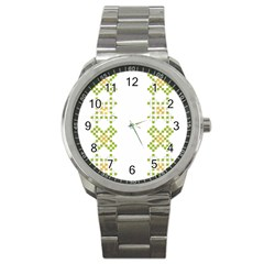 Vintage Pattern Background  Vector Seamless Sport Metal Watch