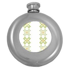 Vintage Pattern Background  Vector Seamless Round Hip Flask (5 Oz)