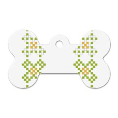 Vintage Pattern Background  Vector Seamless Dog Tag Bone (two Sides)
