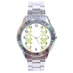 Vintage Pattern Background  Vector Seamless Stainless Steel Analogue Watch