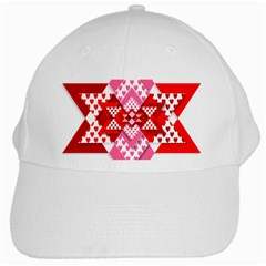 Valentine Heart Love Pattern White Cap