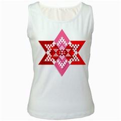 Valentine Heart Love Pattern Women s White Tank Top