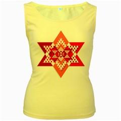 Valentine Heart Love Pattern Women s Yellow Tank Top