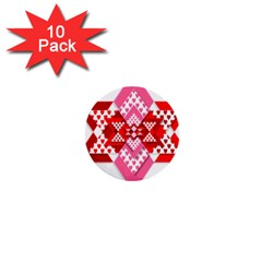 Valentine Heart Love Pattern 1  Mini Buttons (10 Pack)