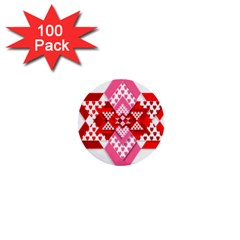 Valentine Heart Love Pattern 1  Mini Buttons (100 Pack)