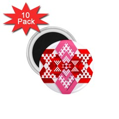 Valentine Heart Love Pattern 1 75  Magnets (10 Pack)