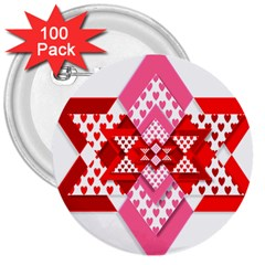 Valentine Heart Love Pattern 3  Buttons (100 Pack)