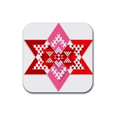 Valentine Heart Love Pattern Rubber Coaster (square)
