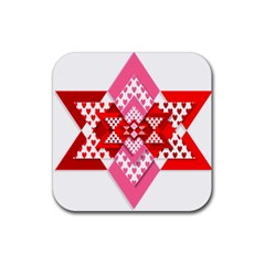 Valentine Heart Love Pattern Rubber Square Coaster (4 pack)