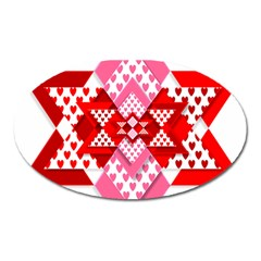 Valentine Heart Love Pattern Oval Magnet