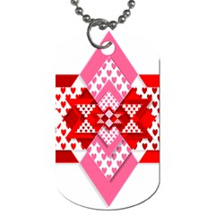 Valentine Heart Love Pattern Dog Tag (one Side)