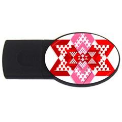 Valentine Heart Love Pattern Usb Flash Drive Oval (2 Gb)