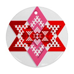 Valentine Heart Love Pattern Round Ornament (Two Sides)