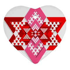 Valentine Heart Love Pattern Heart Ornament (two Sides)