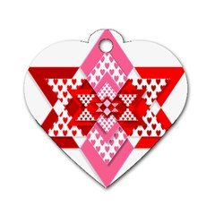 Valentine Heart Love Pattern Dog Tag Heart (two Sides)