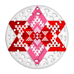 Valentine Heart Love Pattern Ornament (round Filigree)