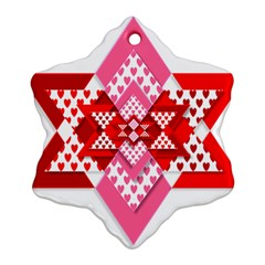 Valentine Heart Love Pattern Snowflake Ornament (two Sides)