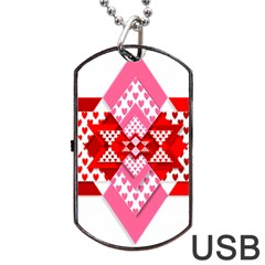 Valentine Heart Love Pattern Dog Tag Usb Flash (one Side)