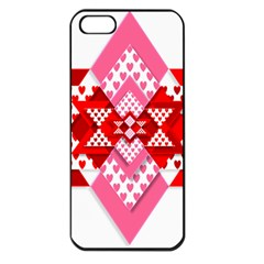 Valentine Heart Love Pattern Apple Iphone 5 Seamless Case (black)