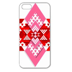 Valentine Heart Love Pattern Apple Seamless Iphone 5 Case (clear)