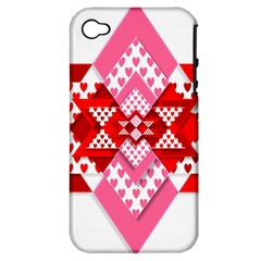 Valentine Heart Love Pattern Apple Iphone 4/4s Hardshell Case (pc+silicone)
