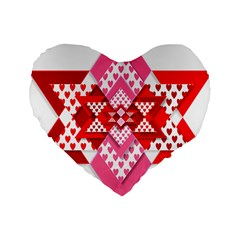 Valentine Heart Love Pattern Standard 16  Premium Heart Shape Cushions