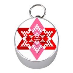 Valentine Heart Love Pattern Mini Silver Compasses