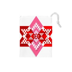 Valentine Heart Love Pattern Drawstring Pouches (small)