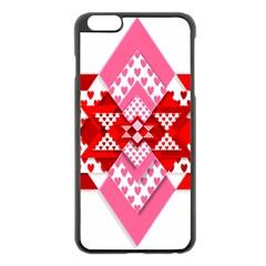 Valentine Heart Love Pattern Apple Iphone 6 Plus/6s Plus Black Enamel Case