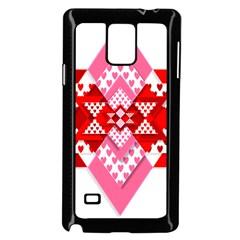 Valentine Heart Love Pattern Samsung Galaxy Note 4 Case (Black)