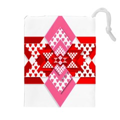 Valentine Heart Love Pattern Drawstring Pouches (extra Large)