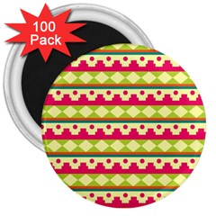 Tribal Pattern Background 3  Magnets (100 Pack)