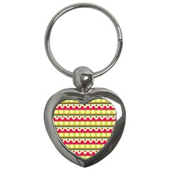 Tribal Pattern Background Key Chains (heart)