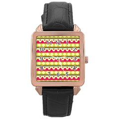 Tribal Pattern Background Rose Gold Leather Watch