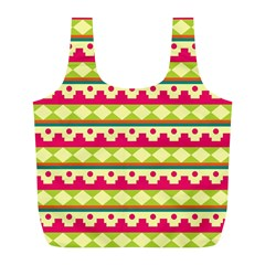 Tribal Pattern Background Full Print Recycle Bags (L)