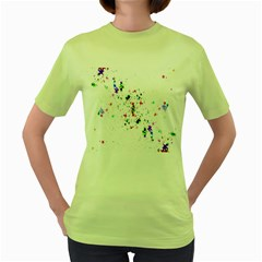Star Structure Many Repetition Women s Green T-Shirt