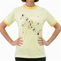 Star Structure Many Repetition Women s Fitted Ringer T-Shirts