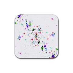Star Structure Many Repetition Rubber Square Coaster (4 Pack)