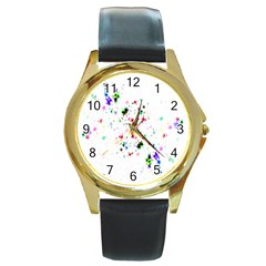 Star Structure Many Repetition Round Gold Metal Watch