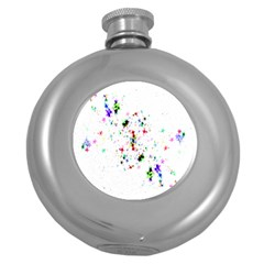 Star Structure Many Repetition Round Hip Flask (5 Oz)