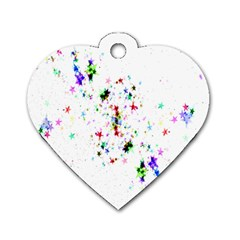 Star Structure Many Repetition Dog Tag Heart (one Side)